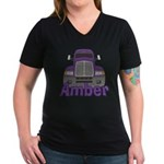 Trucker Amber Women's V-Neck Dark T-Shirt