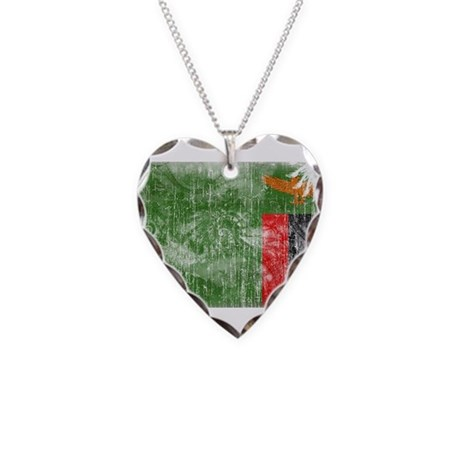 Zambia Flag Necklace Heart Charm