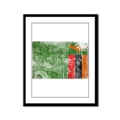 Zambia Flag Framed Panel Print