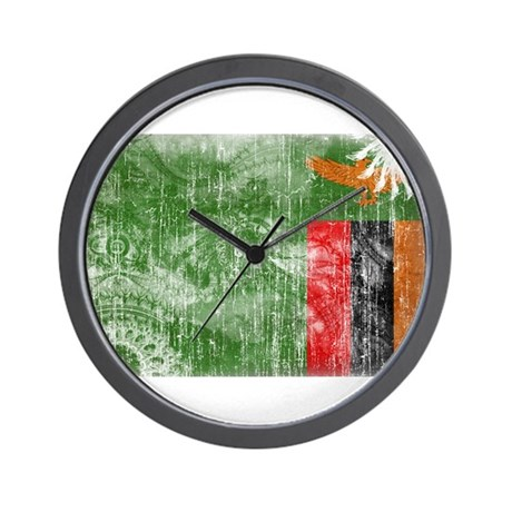 Zambia Flag Wall Clock