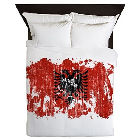 Albania Flag Queen Duvet