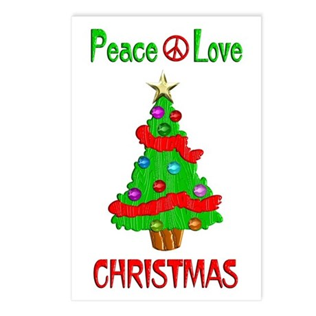 Peace Love Christmas Postcards (Package of 8)
