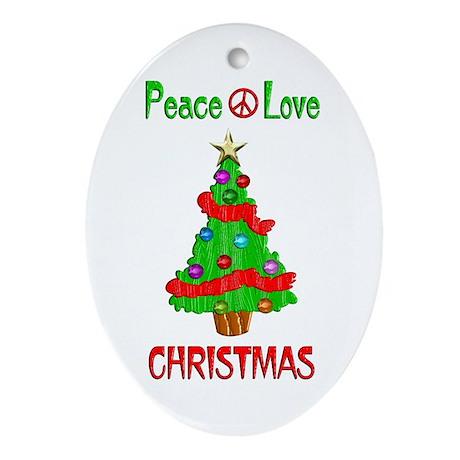Peace Love Christmas Ornament (Oval)