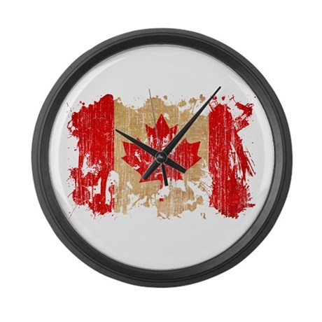 Canada flag large wall clock by coolsplatterworldflags for Oversized wall clocks canada