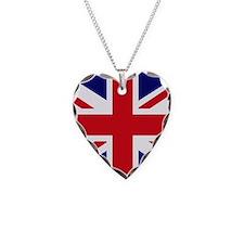 British Flag Union Jack Necklace Heart Charm