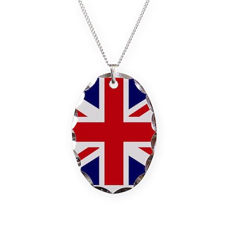 British Flag Union Jack Necklace Oval Charm