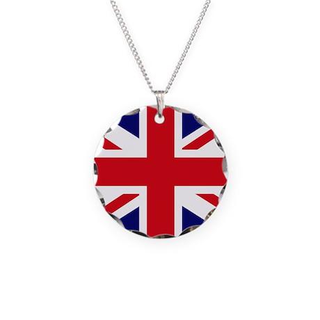 British Flag Union Jack Necklace Circle Charm