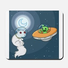 White Squirrel in Space Mousepad
