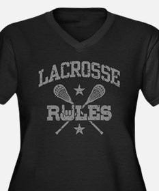 Lacrosse Rules Women's Plus Size V-Neck Dark T-Shi