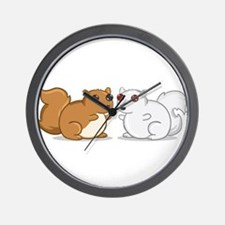 White Squirrel - Brown Squirrel Wall Clock