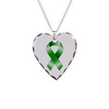 Green Ribbon Necklace Heart Charm