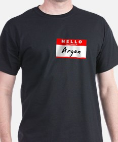 Aryan, Name Tag Sticker T-Shirt