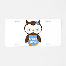 School Nurse Owl Aluminum License Plate