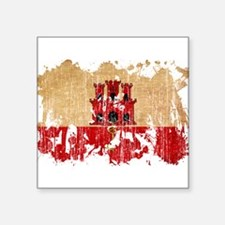 """Gibraltar Flag Square Sticker 3"""" x 3"""""""