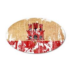 Gibraltar Flag 22x14 Oval Wall Peel