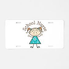 School Nurse Stick Figure Aluminum License Plate