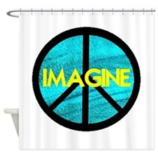 IMAGINE with PEACE SYMBOL.psd Shower Curtain