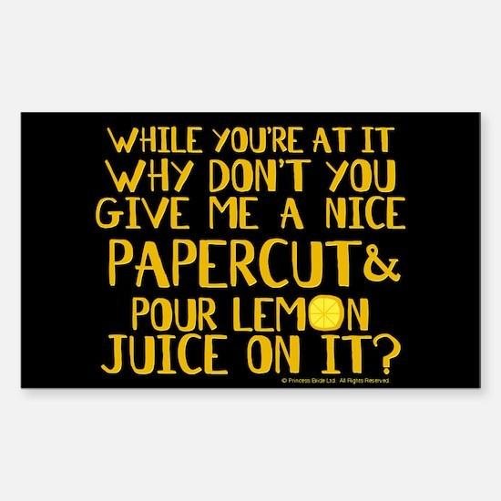 Lemon Juice Princess Bride Decal