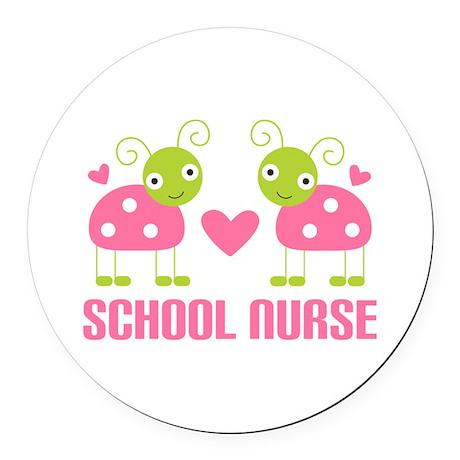 School Nurse Ladybug Round Car Magnet