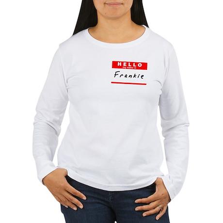 Frankie, Name Tag Sticker Women's Long Sleeve T-Sh