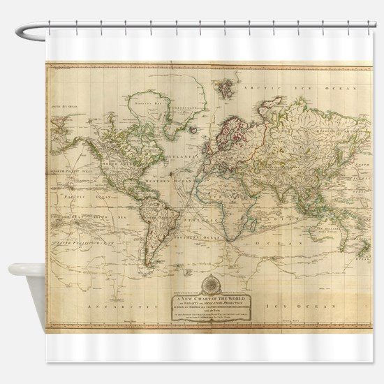 Vintage Map of The World (1800) Shower Curtain