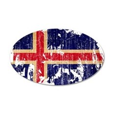 Iceland Flag 22x14 Oval Wall Peel