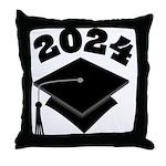 Class of 2024 Grad Hat Throw Pillow
