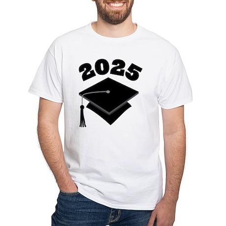 Class of 2025 Grad Hat White T-Shirt