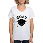 Class of 2027 Grad Hat Women's V-Neck T-Shirt