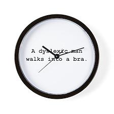 Deyslexic Man Bra Black.png Wall Clock