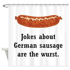 German Sausage Black.png Shower Curtain