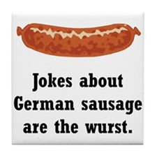 German Sausage Black.png Tile Coaster