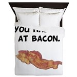 Had Me At Bacon Black.png Queen Duvet