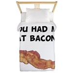Had Me At Bacon Black.png Twin Duvet