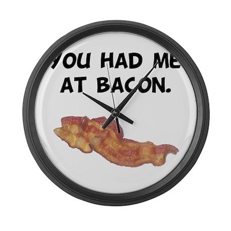 Had Me At Bacon Black.png Large Wall Clock