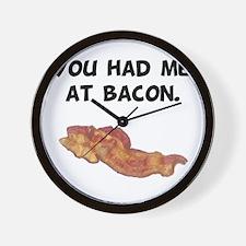 Had Me At Bacon Black.png Wall Clock