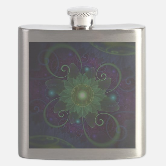Glowing Blue-Green Fractal Lotus Lily Pad Po Flask