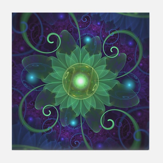 Glowing Blue-Green Fractal Lotus Lily Tile Coaster