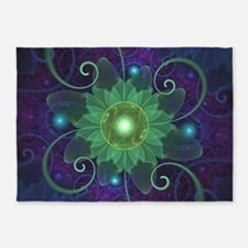 Glowing Blue-Green Fractal Lotus Li 5'x7'Area Rug