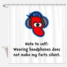 Headphone Farts Black.png Shower Curtain