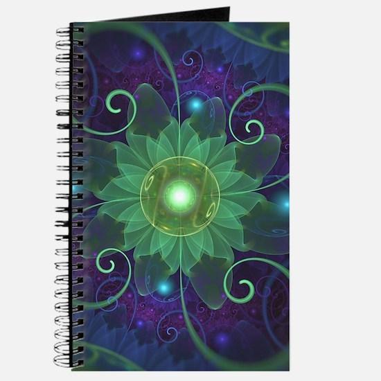 Glowing Blue-Green Fractal Lotus Lily Pad Journal