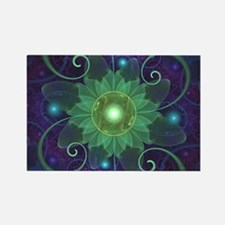 Glowing Blue-Green Fractal Lotus Lily Pad Magnets