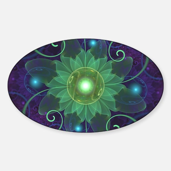 Glowing Blue-Green Fractal Lotus Lily Pad Decal