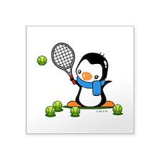 """Tennis Penguin (1) Square Sticker 3"""" x 3"""""""