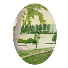 Summer Meadow and Barn Ornament (Oval)