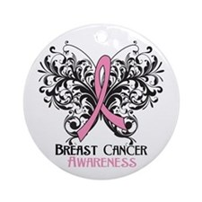 Butterfly Breast Cancer Ornament (Round)