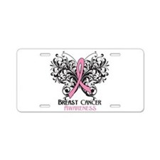 Butterfly Breast Cancer Aluminum License Plate