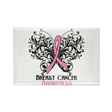 Butterfly Breast Cancer Rectangle Magnet (10 pack)