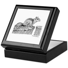 Chipmunk Pen and Ink Keepsake Box