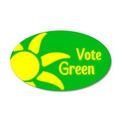 Yellow Sun Vote Green 22x14 Oval Wall Peel